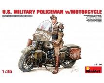 Mini Art 1:35 US Military Policeman w. HD Motorcycle WWII      35168