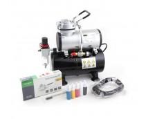 Fengda Airbrush Set AS-186K incl. Compressor met Extra Voorraad en Double Action Airbrush BD-130