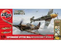 Airfix Dogfight Double Spitfire Mk1a + Messerschmidt Bf109E-4 MODEL SET incl. lijm en verf   1:72