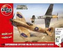 Airfix 1:48 Spitfire Mk.Vb + Messerschmitt Bf109E MODEL SET incl lijm en verf 1:48   A50160