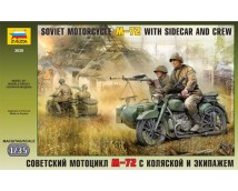 Zvezda 1:35 Soviet WWII Motorcycle M72 with sidecar and crew     3639