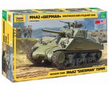 Zvezda 1:35 M4 A2 Sherman 75mm Medium Tank     (Zvezda 3702)