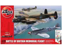 Airfix 1:72 Battle Of Britain Memorial Flight AVRO Lancaster, 2x Spitfire, Stands, en lijm en verf     A50182