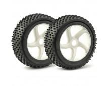 Ansmann 1:8 Buggy 5 Spoke Wheels and Tyres White 2Pcs.