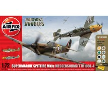 Airfix Dogfight Double Spitfire Mk1a + Messerschmidt Bf109E-4 MODEL SET incl. lijm en verf   1:72
