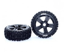 HRC 1:8 Buggy Wheels Zwart Bulldog 2st.